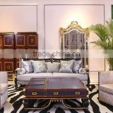 Neoclassic living furniture set wood frame fabric sofa gold length mirror