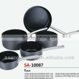 High Quality Pressed Hard Anodized Aluminium Saucepan and Frypan cookware sets/kitchenware sets with non stick inside and lips