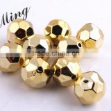 Gold Color AAA Quality Chunky 20mm Faceted Acrylic UV Plating Beads for Chunky Beaded Necklace Jewelry