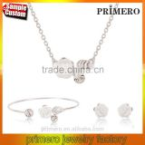 Silver Filled Pretty Rose Flower Necklace Breaclet Earring 3pcs/set Fashion Jewelry Sets For Woman