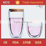 Wholesale double wall glass water tumbler cup with bamboo lid                                                                         Quality Choice