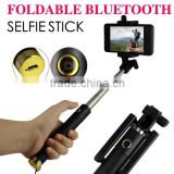 Flexible Tripod Type and stainless steel Material wireless bluetooth selfie stick with bluetooth button