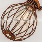 Wire Balloon Cage Vintage Pendant Lights Rusted Industrial Style Beautiful Suspension Lamp
