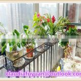 Window decor country style black metal flower pot rack hanging handrail iron basket holder