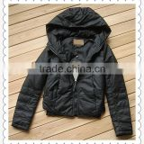 Women black short fashion motorcycle PU leather jacket with hoody