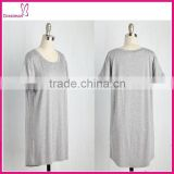 Short sleeve over size grey tunic woman clothes 2016
