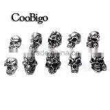 Silver Skull Charm Metal For Paracord Bracelet Knife Lanyards Skull Beads #FLQ076/77/78/79/80-S(Mix-s)