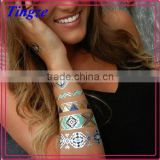 New Necklace Bracelets Tattoo Metal Silver Golden Temporary Tattoos Sticker For Adults