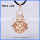 Wholesale Hollow Copper Round Cage Harmony Jingle Bell Chime Charm Pregnancy Belly Necklace Pendant BAC-M018
