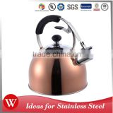 Copper plated 2.7L stainless steel whistling kettle camping non electric tea kettle with single bottom