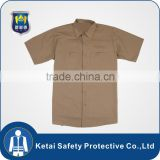Khaki 100% polyester breathable work shirts with short sleeve                                                                                                         Supplier's Choice