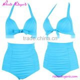 2016 Hot Sale High Waist Blue Halter Swimwear Woman Bikini