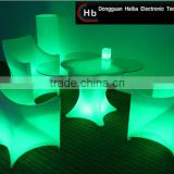 High quality round PE plastic RGB Battery Led Furniture illuminated wood dining table sets made in PRC