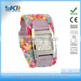 rainbow square wrist watch with faric band item brand watch