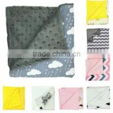 wholesale custom super soft cotton plush dot baby minky blanket
