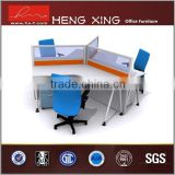 Blue and gray 3 people used office partition wall 120 degree office partition glass wall
