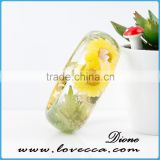 Customized charms polished clear plastic dry resin botanical jewelry sunflower women bangles