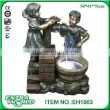 28-Inch Two Bronze Kids Water Outdoor Fountain With Faucet
