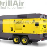 Atlas Copco DrillAir: Wagon-mounted two-stage, oil-injected, asymmetrical rotary screw compressors, 25bar-35 bar (365-510 psig)