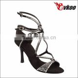 sexy charming lock ankle stiletto dance shoes tan satin with crystal dancing sandals elegant ballroom shoes with factory price