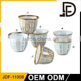 Drinkware gold cup, gold plated tea cup set, ceramic gold rim coffee cup with saucer