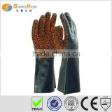 Sunnyhope long PVC chips coatd enforced labour kid protective gloves,fish cleaning gloves