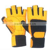 Yellow weight lifting gloves with strap