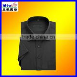 ST-SH49#men's dress shirt/business shirt black short sleeve 100%cotton