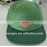 Blank Cotton Green Leisure Flat Brim Cap With Leather Patch
