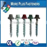 Made In Taiwan Hex Washer Head Bonded Washer Roof Screw Painted Head Hex Roof Screw Polycarbonate Dome Sealer Screw Metal Timber