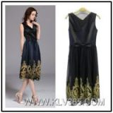 Hot Sale Women Fashion Summer Sleeveless Embroidery Casual Dress