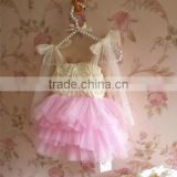 children's pink ruffle lace dresses with ribbon bandage girls boutique lace dress for party