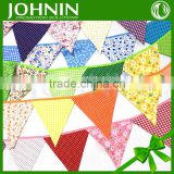 Factory Price Colorful Printed100% Cotton Triangle Bunting flags