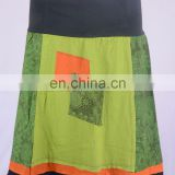 Bohemian Avocado Green With Fer Green Plant Prints Cotton Patchwork Mini Skirt HHCS 109 J