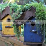 Custom Rustic Wooden Bird House With Pot On Top