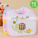 2015 walson hot sale cute baby elephent printed bibs cotton with various colors in rim
