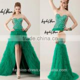 Luxury Tiered Tulle Green Front Short Long Back Evening Dresses With Beaded