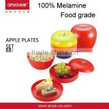 D649 Apple Shaped Plastic Plate Promotional Gift Wedding Gift Plastic Melamine Dishes Plates Set