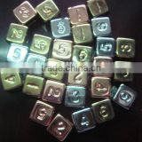 16MM square polyhedron D6 ABS plating silvery,coppery,golden dice , 4.4g/pcs electroplate dice Surface coating