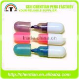 Cixi Chentian New Design Pill Shape Stylus Mini Highlighter Marker Pen Bulk , PP, In PVC Bag Or Bottle