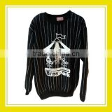 2016 Fashion Products Bros Playing Merry Go Round in Bros Park Unisex Printed Long Sleeve White Stripes Black Sweater