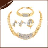 Fashionable Women's crystal dubai gold jewelry Set/