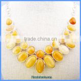 Wholesale Fashion Women's Yellow Jade Gemstone Necklace Designs GN-N003