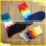 Argyle pattern colorful knitted men tube socks cotton socks happy socks wholesale                                                                         Quality Choice