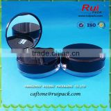 Mini cute compact powder cases with mirror, double layer fashion black empty cosmetic makeup compact powder case