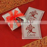 "Chinese style ""LOVE"" theme glass coaster,square table mats for wedding gift"