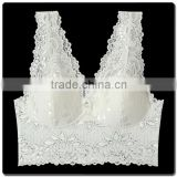 Hot Sale Sexy Transparent Wirefree Lace Tank Top Bra with Soft Pads Sleep Bralette Comfortable Wear
