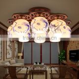 LED Morden Ceiling Light Beautiful Chandelier Jingdezhen Porcelain Light 9Head for Dining Bedroom Hotel Ceramic Lamp