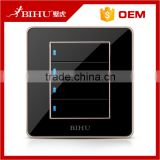 beautiful black 4 gang 1 way push button led light wall switch for home appliance                                                                                                         Supplier's Choice