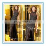 Fashion Style Halter Black Lace Mermaid Custom Made High Quality Crystal Beading Evening Dress(EVAL-1001)